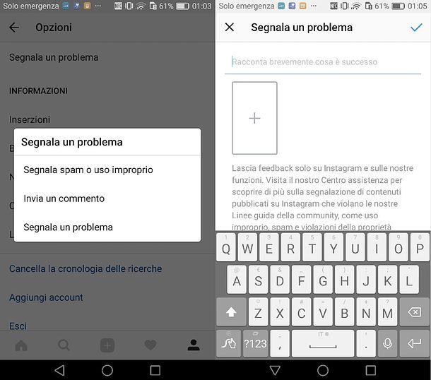 Contattare Instagram per problemi tecnici