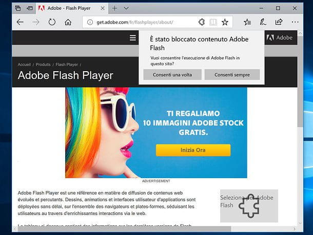 Come attivare Adobe Flash Player in Edge