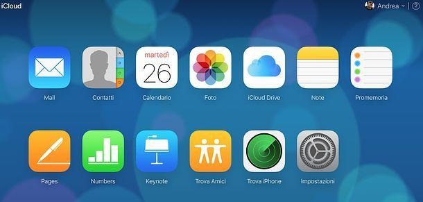 Pannello Web di iCloud