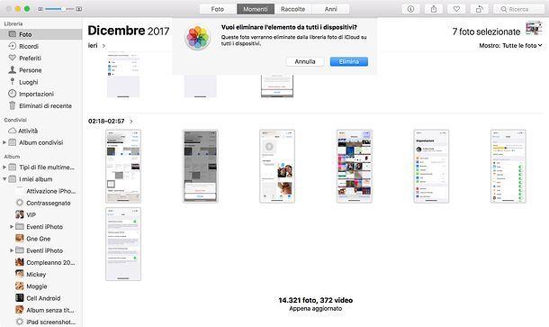 Come eliminare foto da iCloud macOS