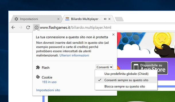 Come attivare Adobe Flash Player in Chrome