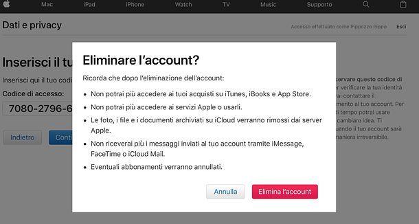Cancellazione ID Apple