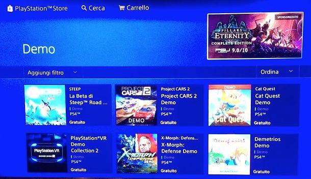 Demo per PS4