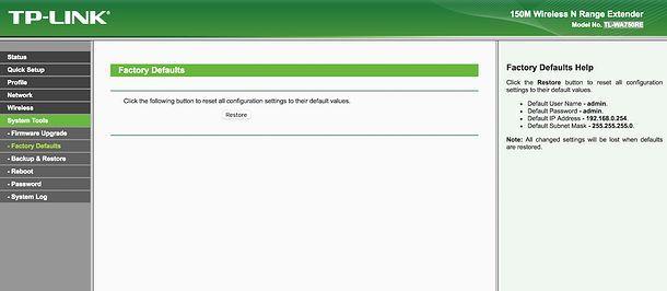 Resettare TP Link extender