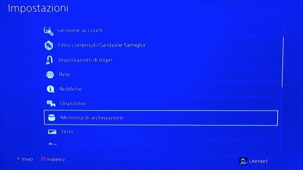Gestione giochi PS4
