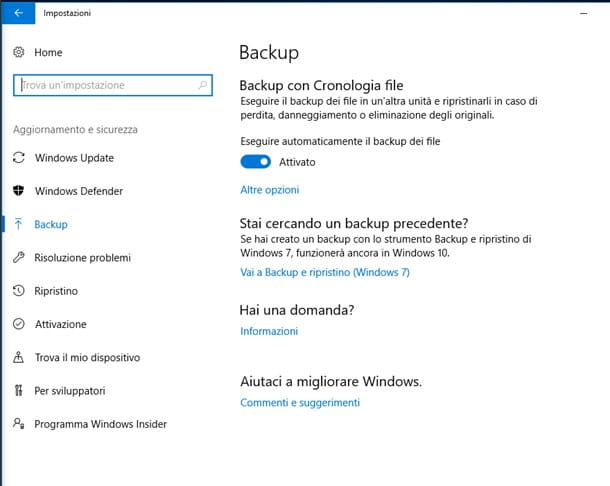 Backup con Cronologia File