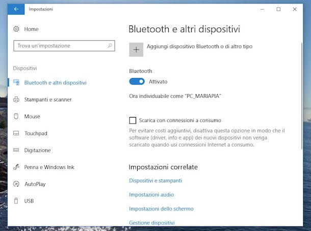 Come attivare Bluetooth su Windows 10