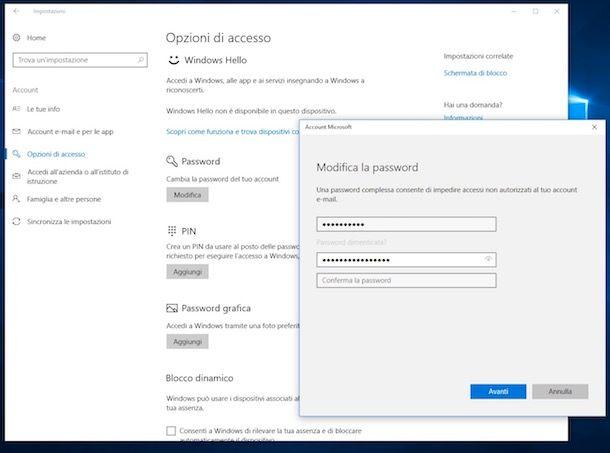Come cambiare password al PC