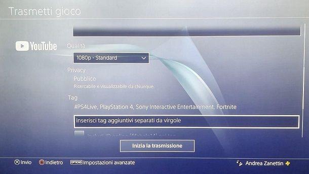 Come fare live su YouTube da PS4