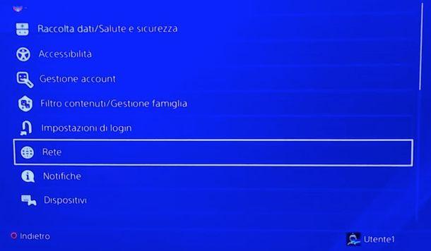 Impostazioni rete PS4