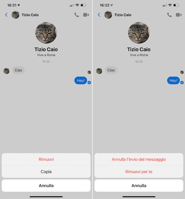 Cancellare messaggi Messenger iPhone