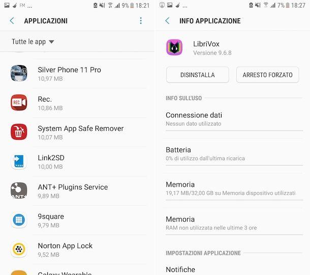 Disinstallazione app Android