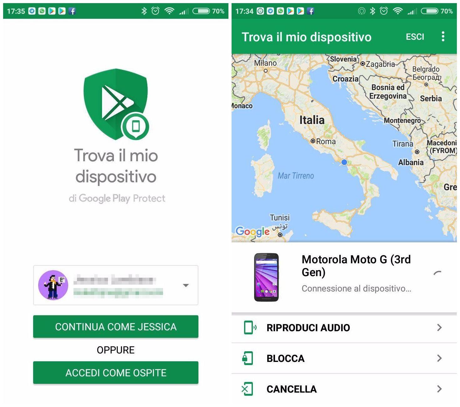 Trova il mio dispositivo - App Android