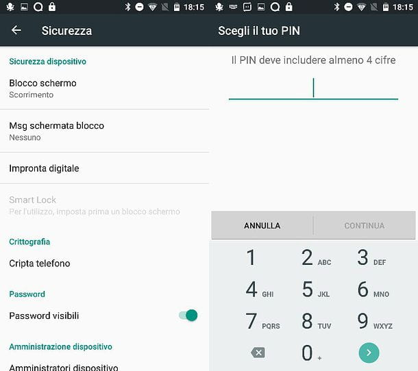PIN sblocco Android