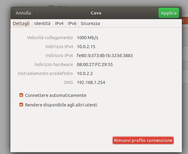 Indirizzo IP router - Linux