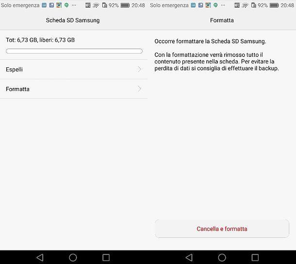 Formattazione SD Huawei