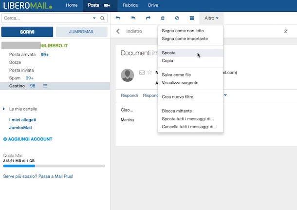 Come recuperare email cancellate da Libero