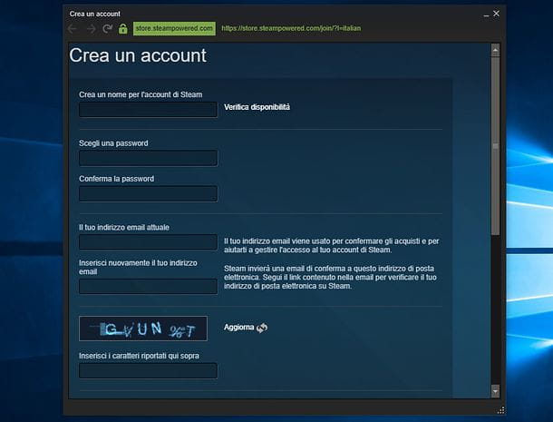 Registrazione Steam