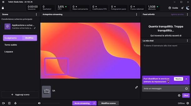 Come streammare su Twitch con Twitch Studio