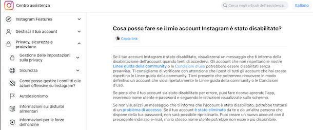 Disabilitazione Instagram per violazioni
