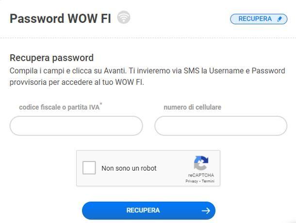 Come recuperare la password di WOW FI