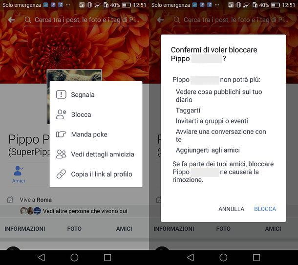 Come bloccare una persona su Facebook mobile