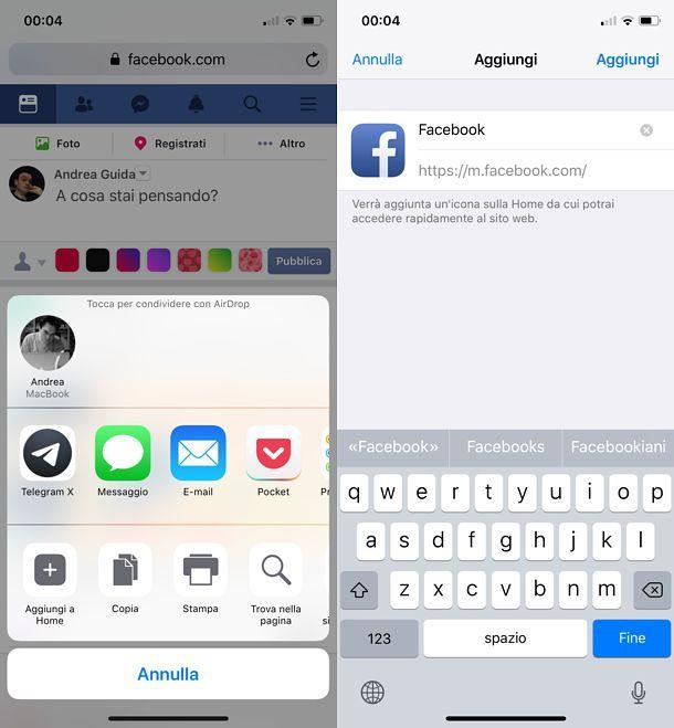 Come mettere l'icona di Facebook Web su iPhone