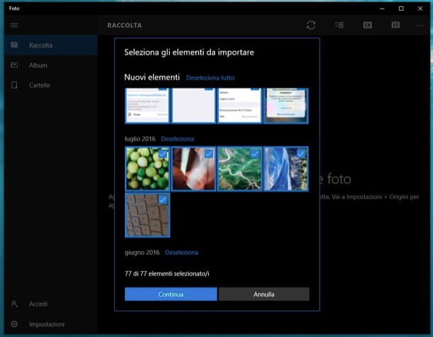 App Foto di Windows 10
