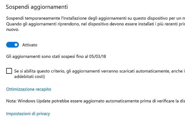 Come disattivare aggiornamenti automatici Windows 10
