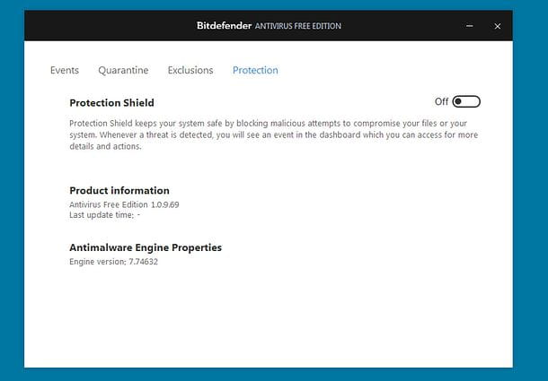 Disattivare Bitdefender Free Edition