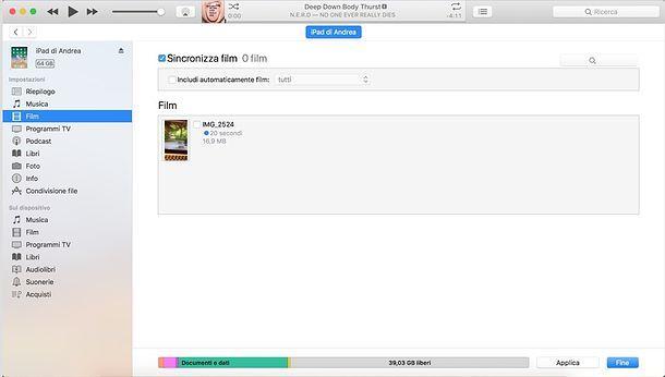 Sincronizzazione film iPad