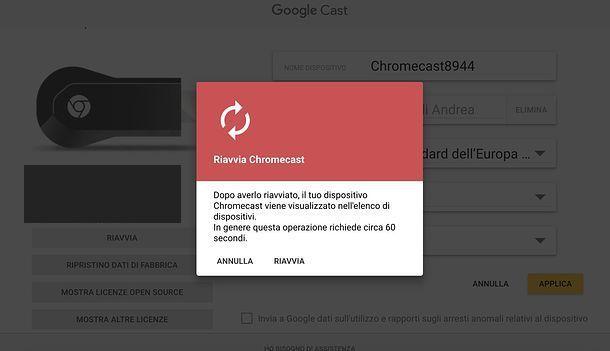Come riavviare Chromecast