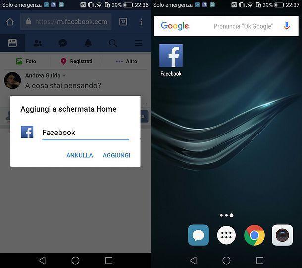 Come mettere l'icona di Facebook Web sul cellulare