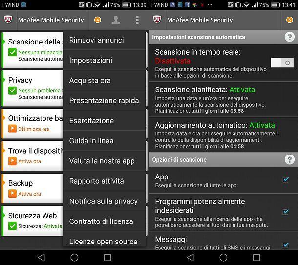 Come disattivare McAfee su Android