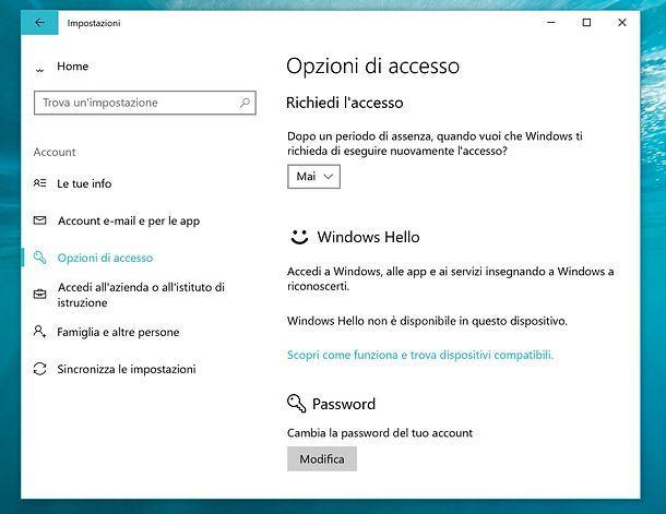 Come togliere il blocco schermo Windows