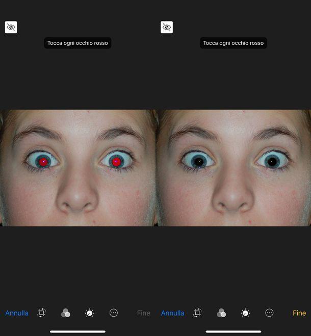 Come correggere gli occhi rossi su iPhone