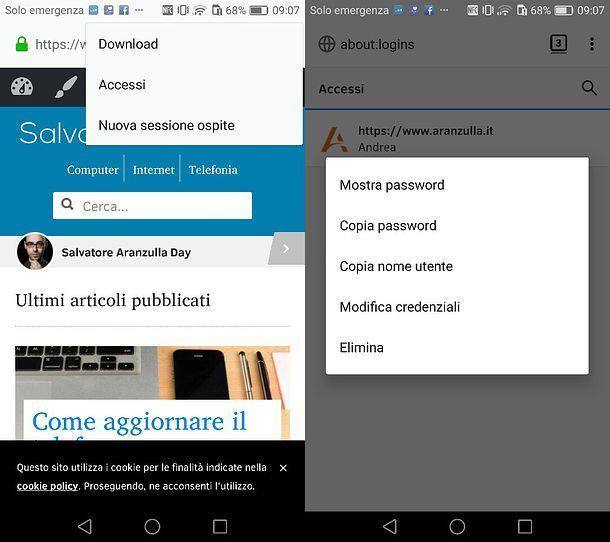 Password Firefox su smartphone