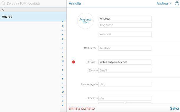 Come eliminare un indirizzo email memorizzato su iCloud