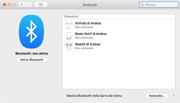 Attivare Bluetooth su Mac