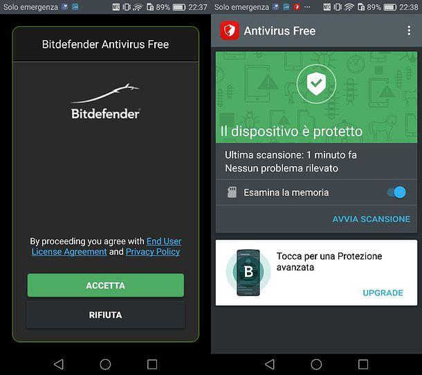 Scansione Bitdefender Antivirus Free per Android