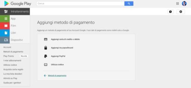 Metodo di pagamento Google Play