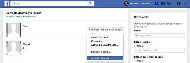 Come annullare le richieste di amicizia inviate su Facebook