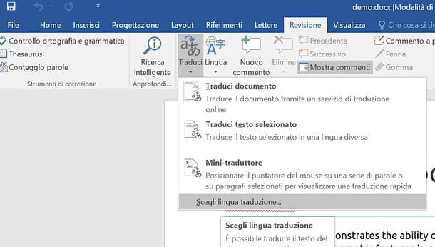 Come tradurre documento Word