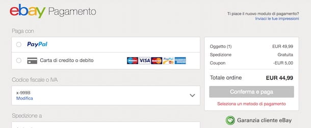 codice coupon ebay