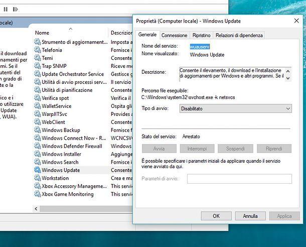 Come disattivare servizio Windows Update