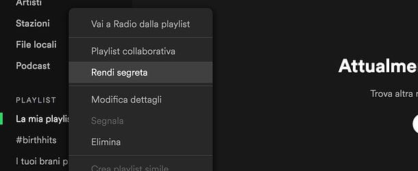 Come creare una playlist privata in Spotify