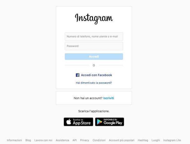 Accesso Instagram da Web