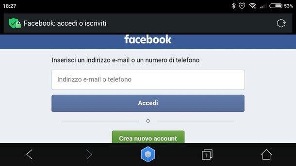 Entrare nel profilo Facebook da browser su smartphone/tablet