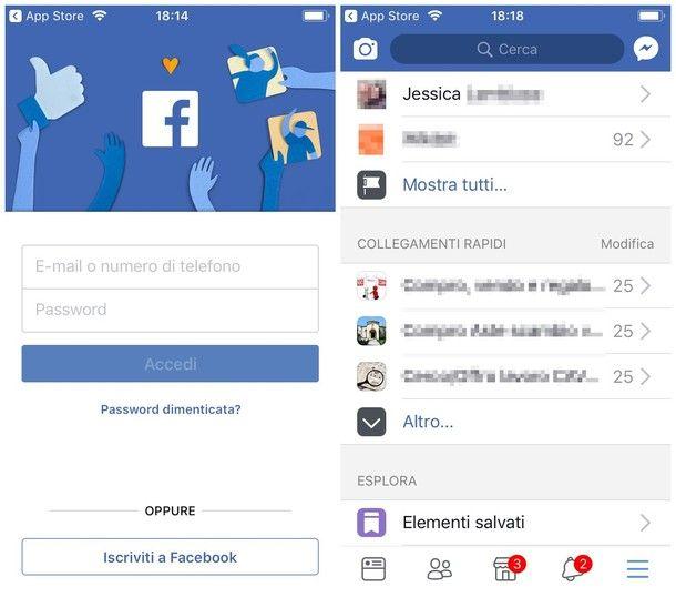 Entrare nel mio profilo Facebook da iOS