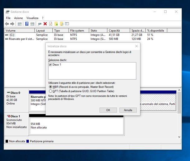 Gestione disco di Windows 10